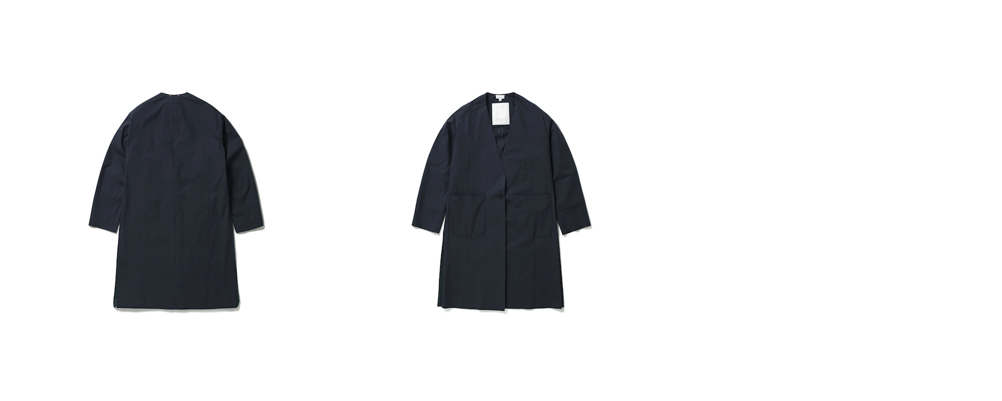 Semi Oversize Cotton Long Jacket Deep Navy