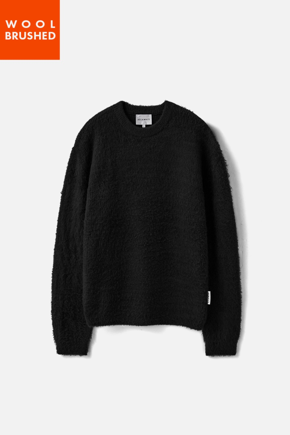 OVERSIZE WOOL BRUSHED KNIT-BLACK