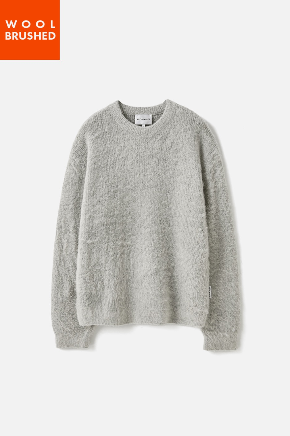 OVERSIZE WOOL BRUSHED KNIT-GREY
