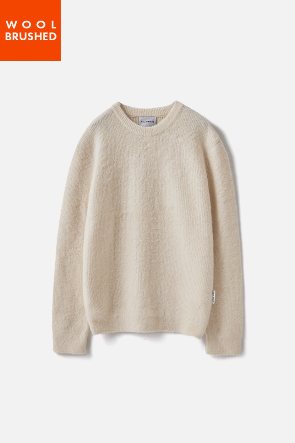 OVERSIZE WOOL BRUSHED KNIT-IVORY