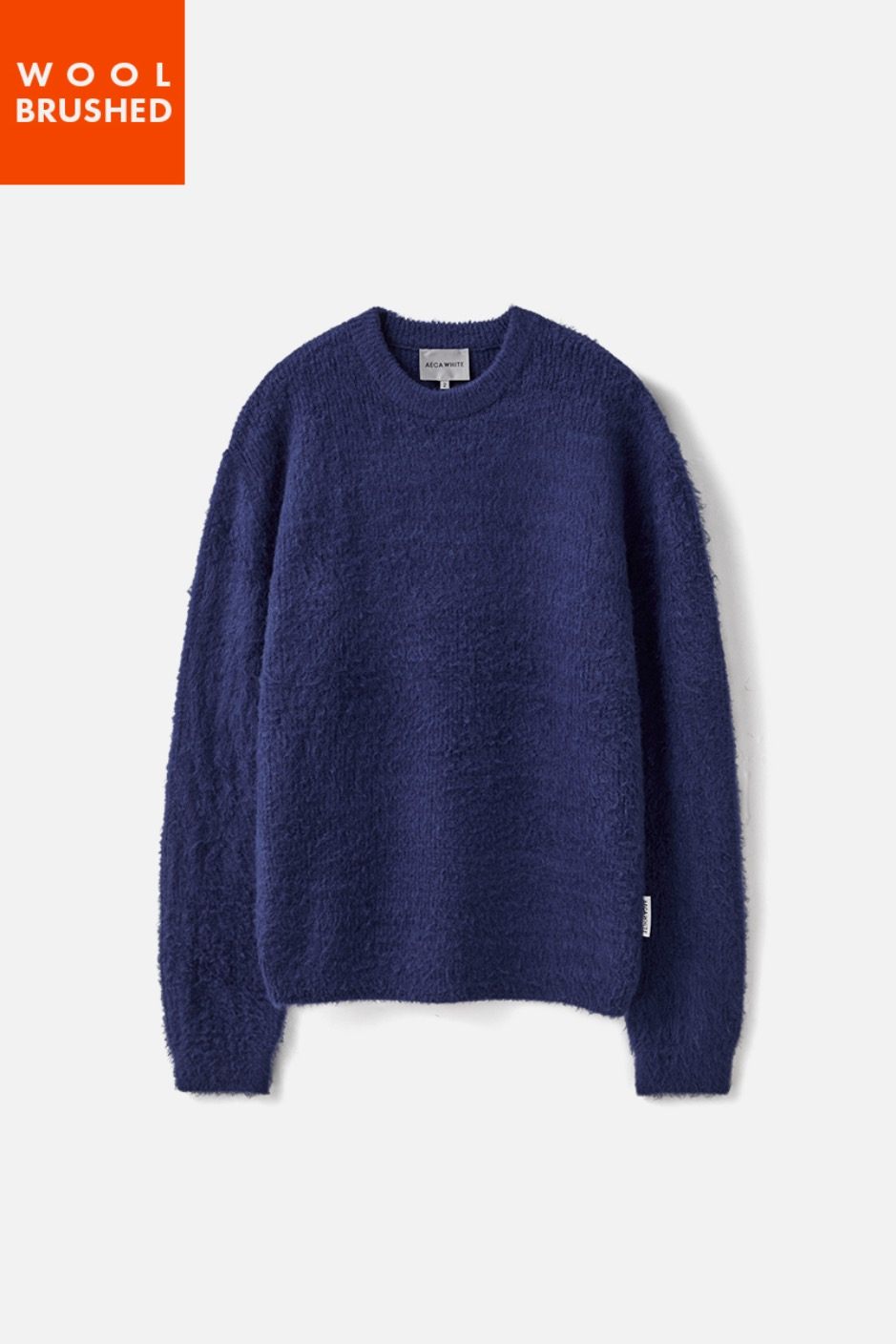 OVERSIZE WOOL BRUSHED KNIT-BLUE