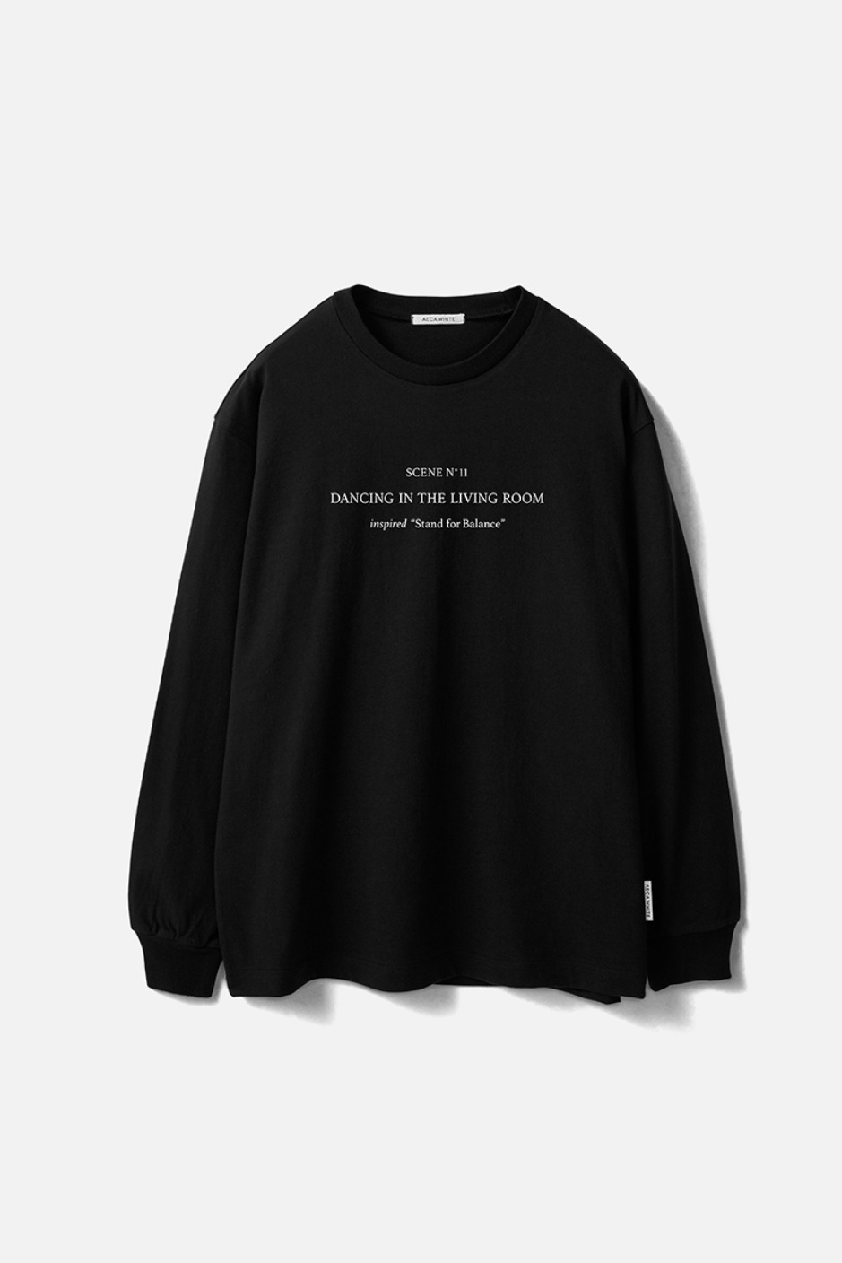 STAND FOR BALANCE LONG SLEEVE TEE-BLACK